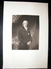 After Thomas Lawrence 1845 Folio Mezzotint Portrait. Earl of Liverpool